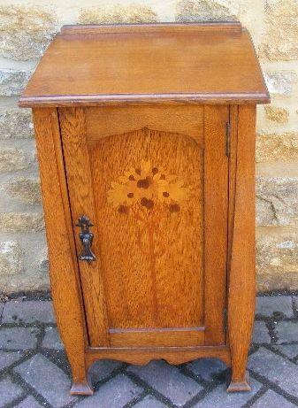 Arts  Crafts Inlaid Oak Bedside Cabinet