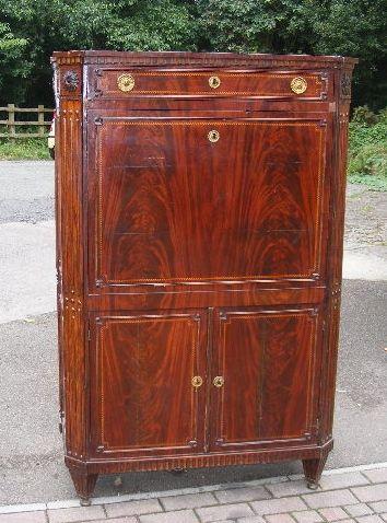 19th century french flame mahogany secretaire
