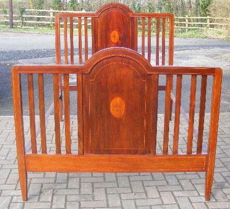edwardian inlaid mahogany bedstead