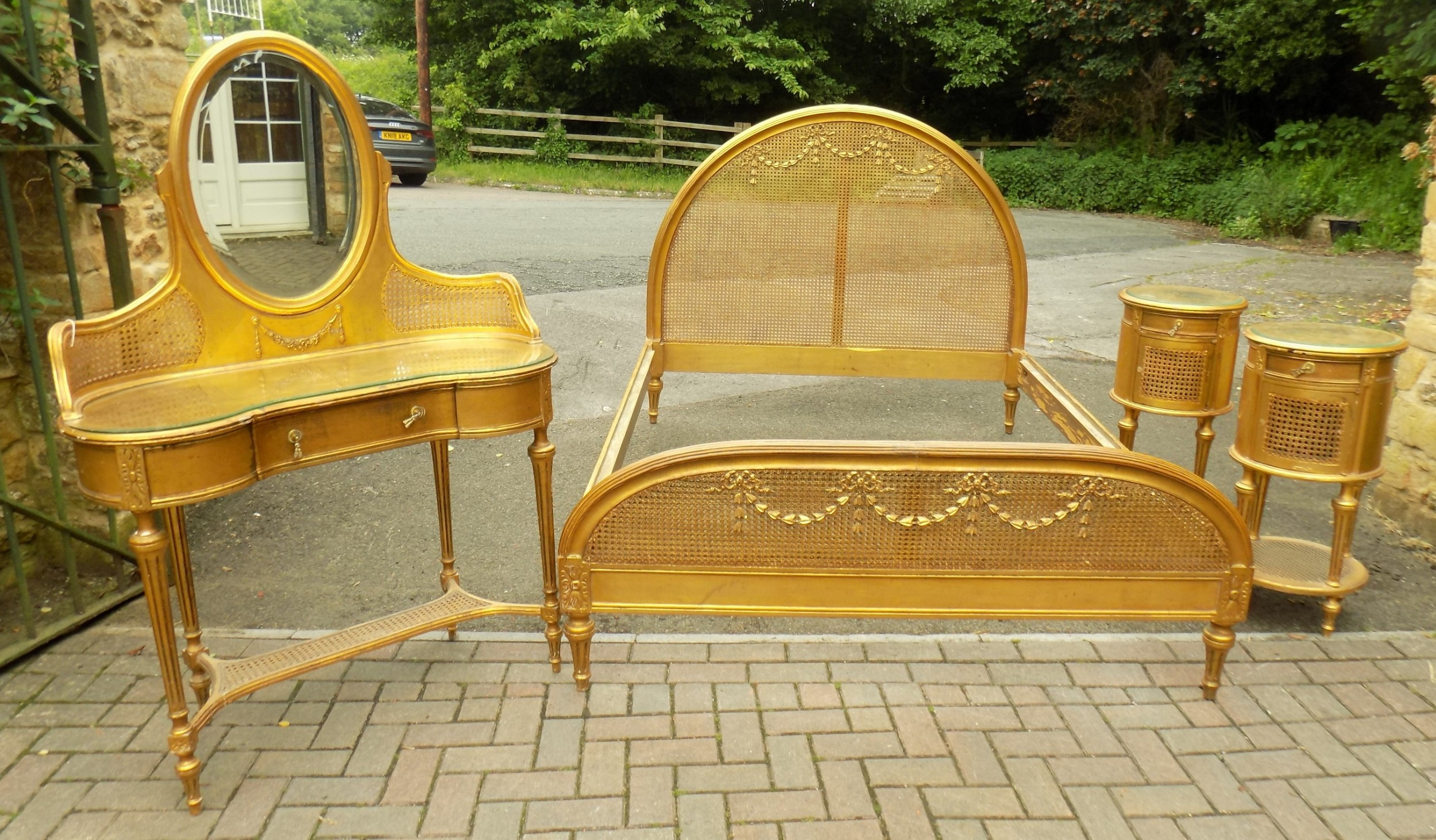 late 19th century carved gilded bergere bedroom suite