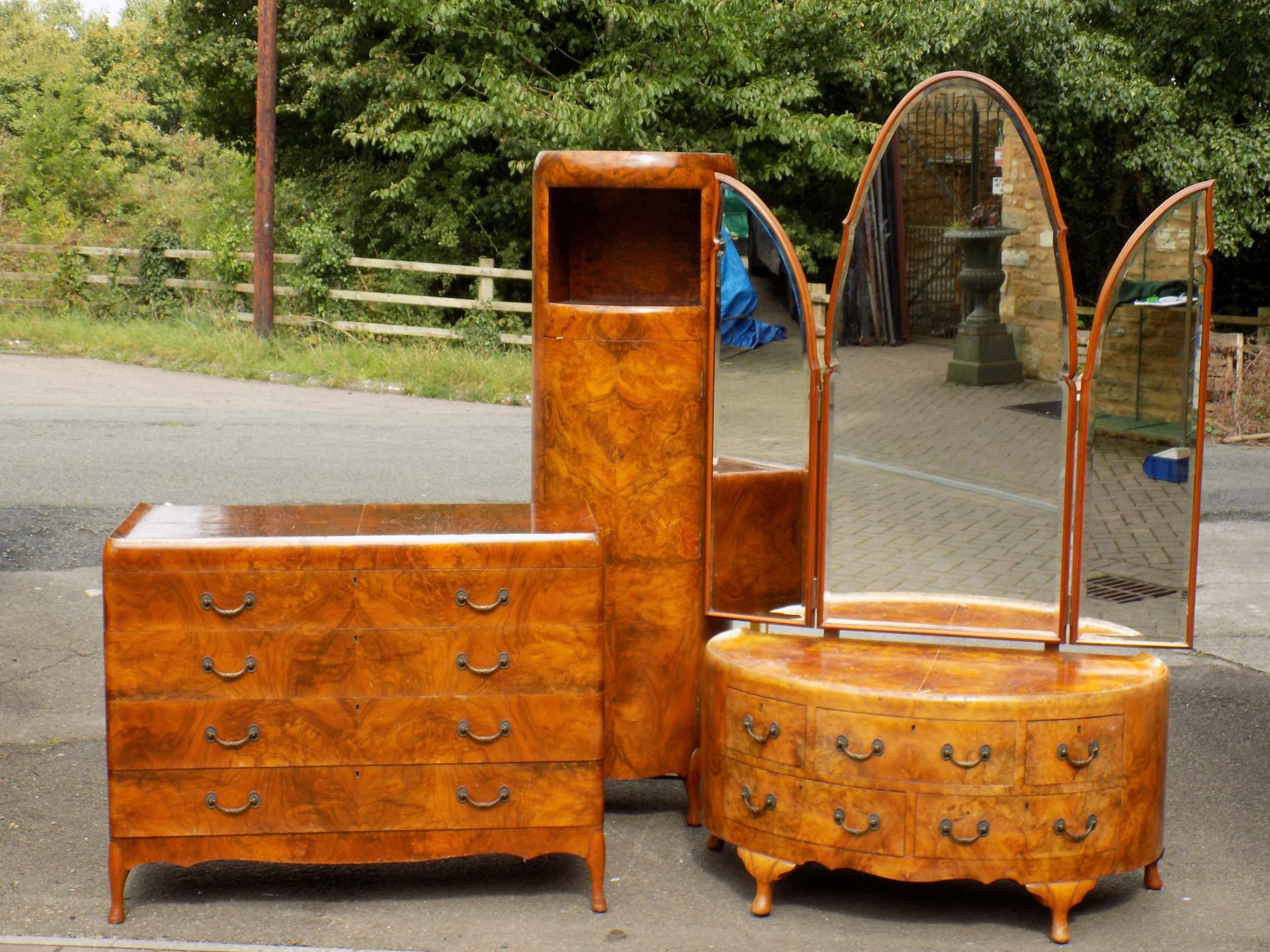 maurice adams art deco burr walnut bedroom trio