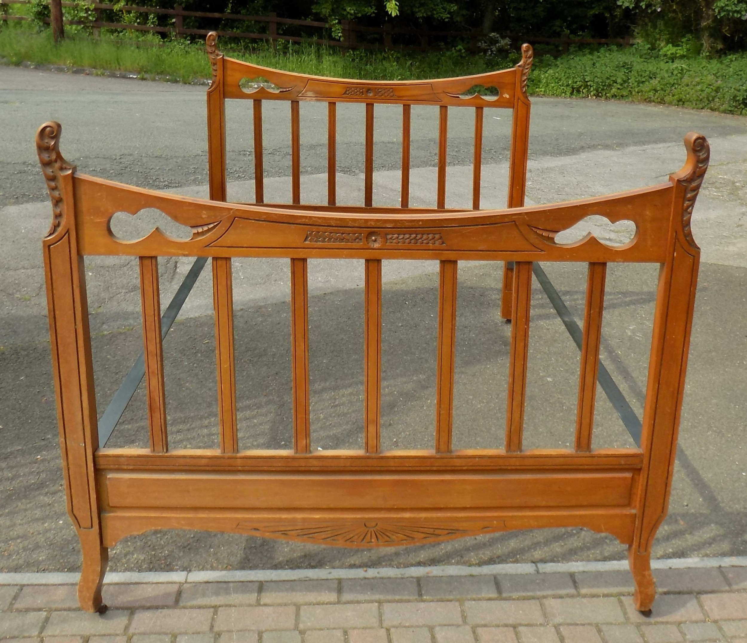 victorian carved satin walnut bedstead