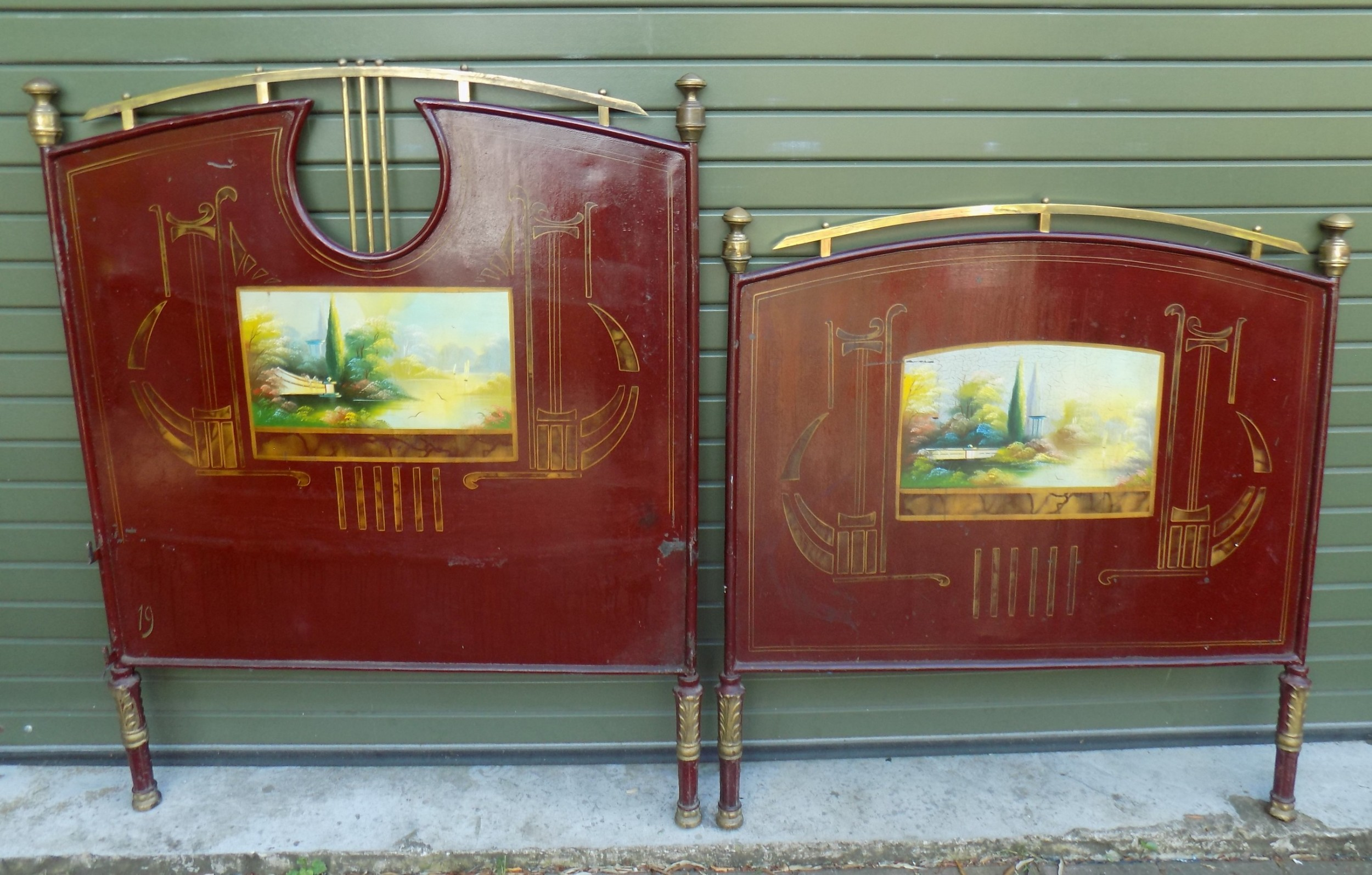 19th century italian hand painted tole ware bedstead