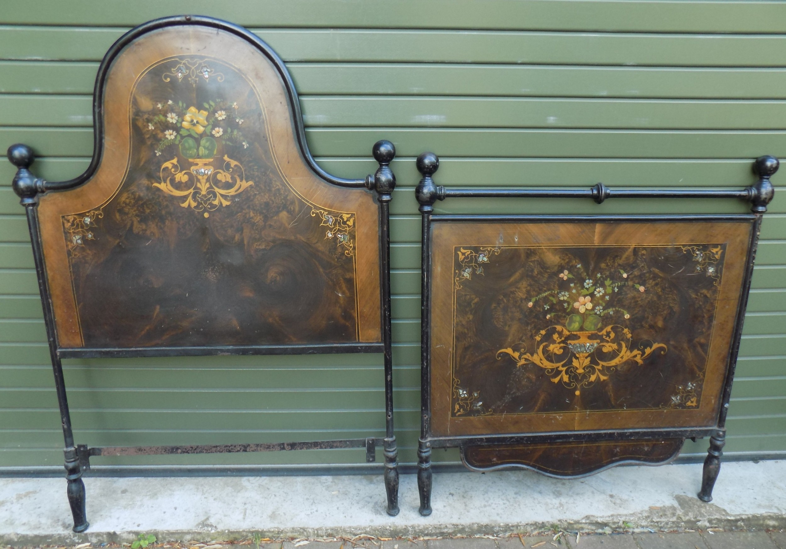 19th century austrian hand painted tole ware bedstead