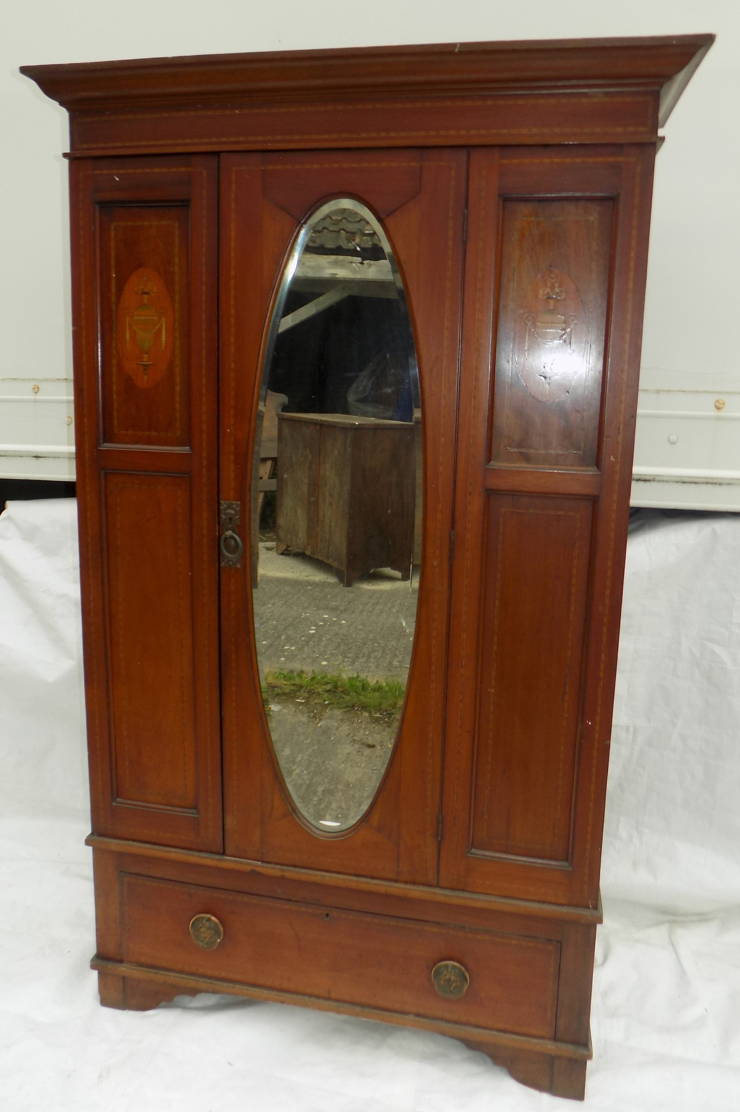 edwardian inlaid mahogany single door wardrobe