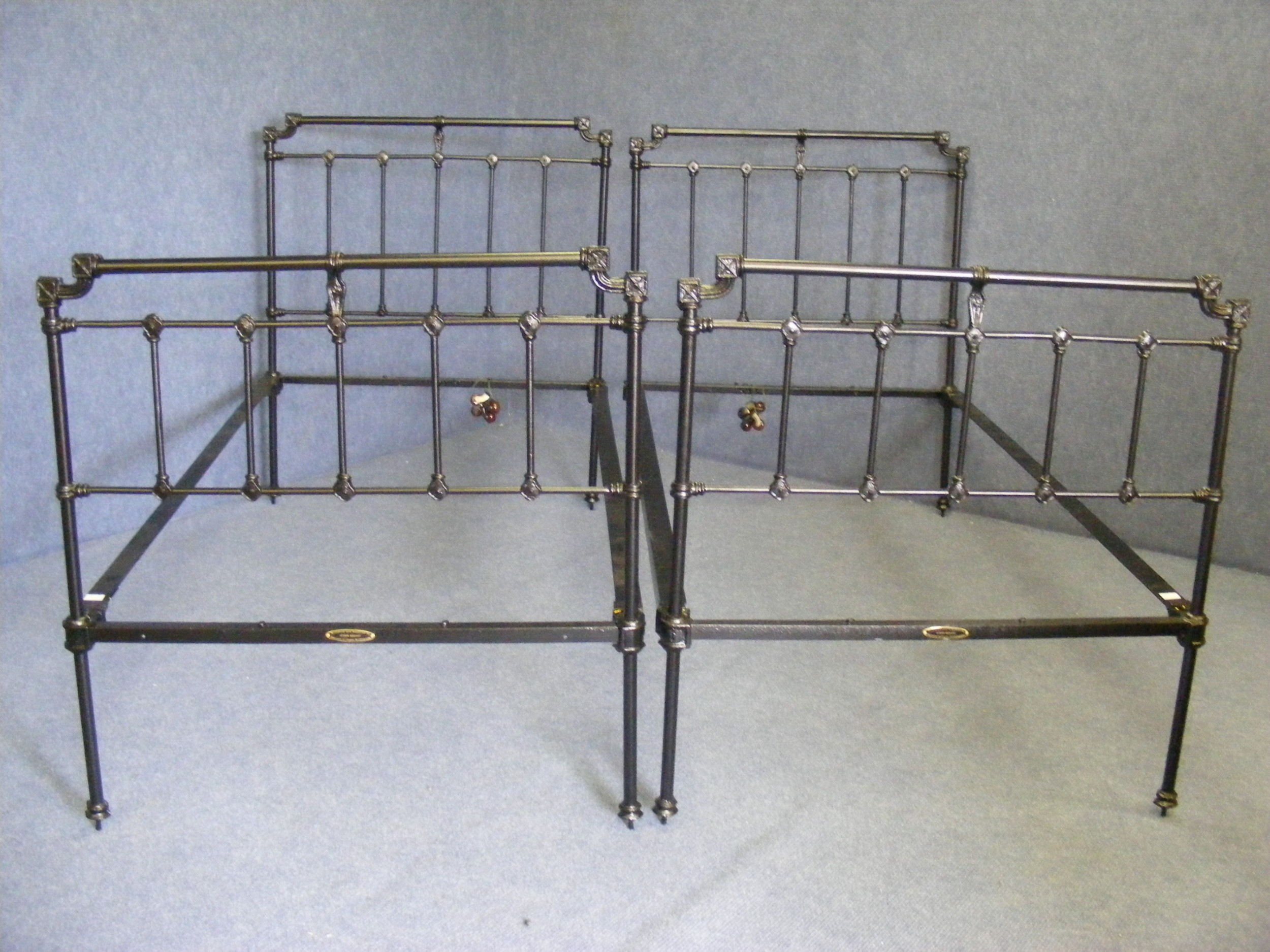 restored pair of victorian iron bedsteads