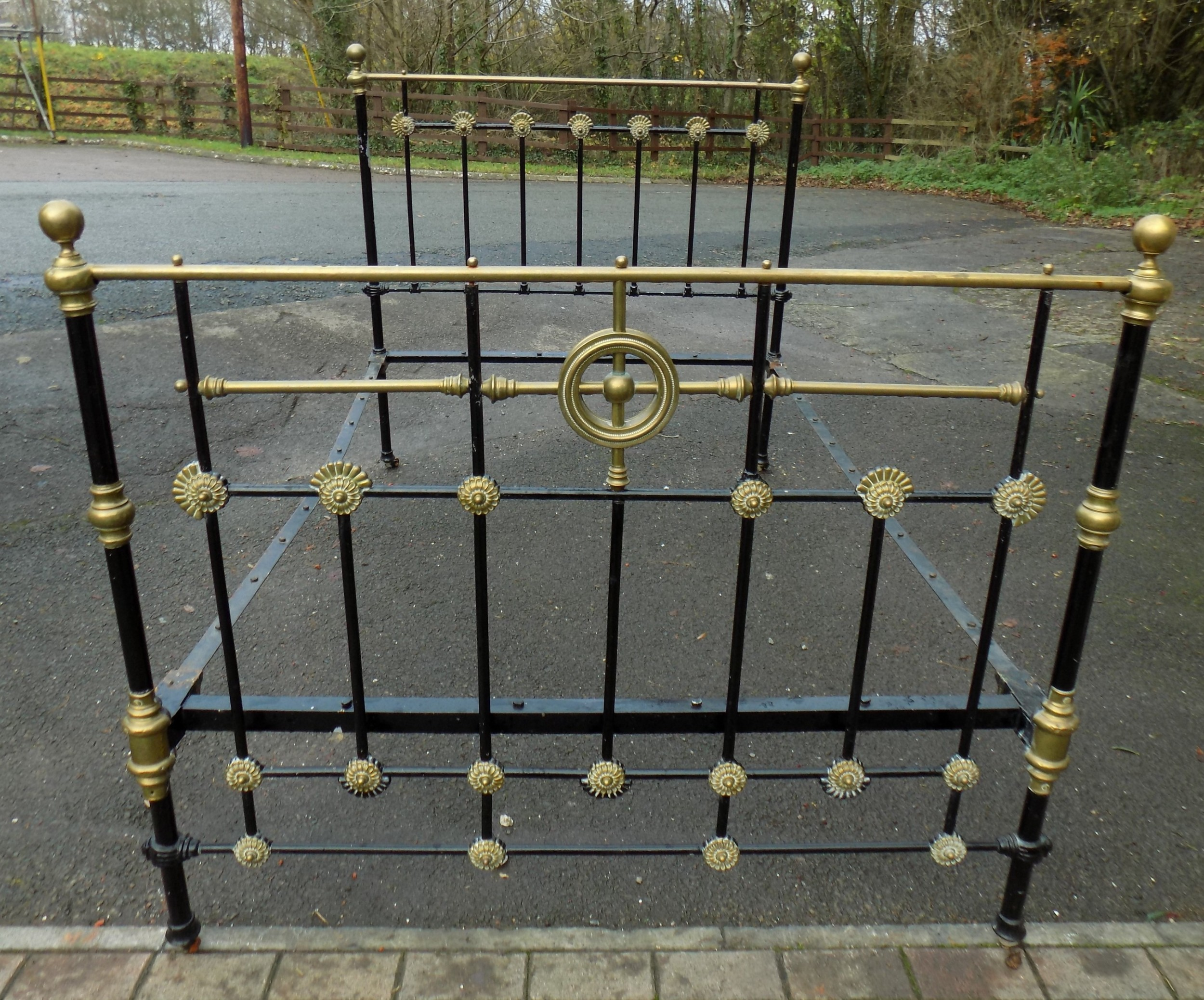 victorian brass and iron bedstead