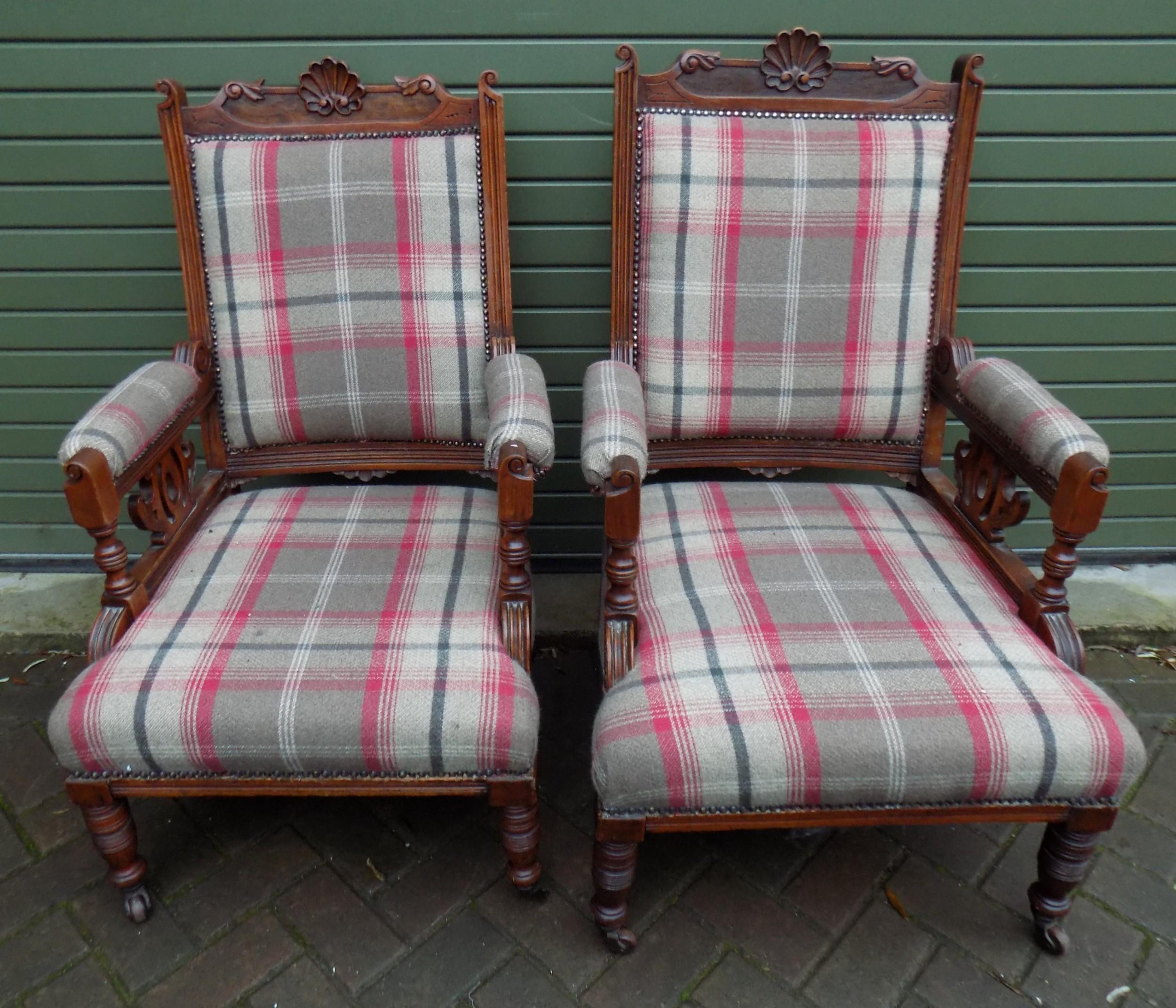 edwardian pair of walnut armchairs