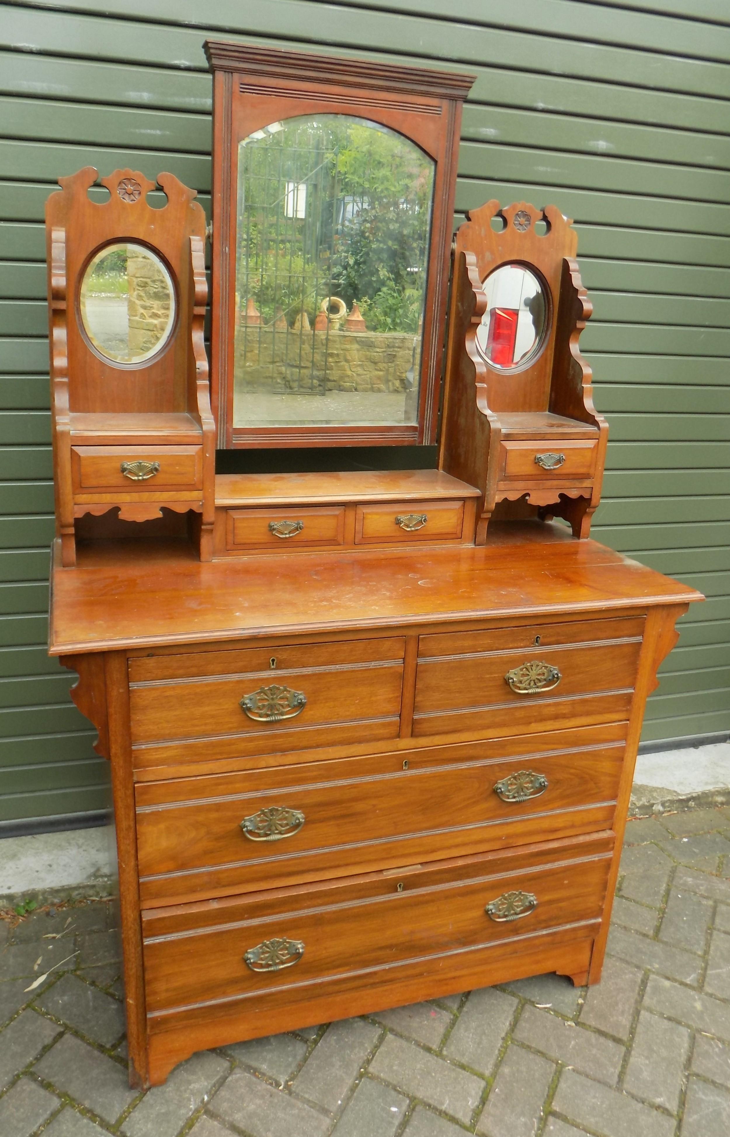 victorian walnut dressing chest