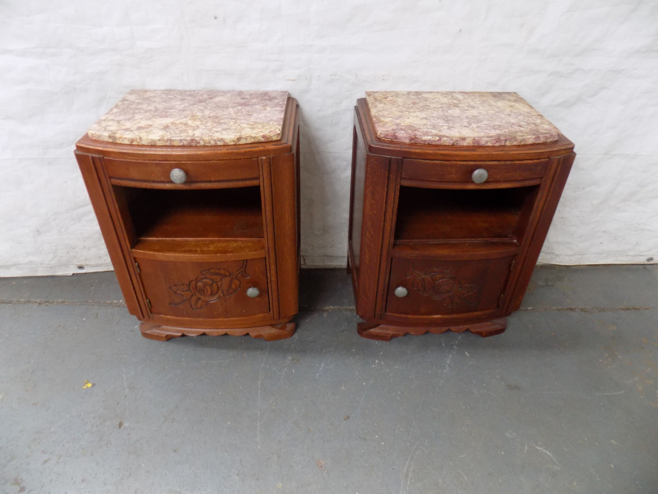 pair of art deco marble topped bedside cabinets