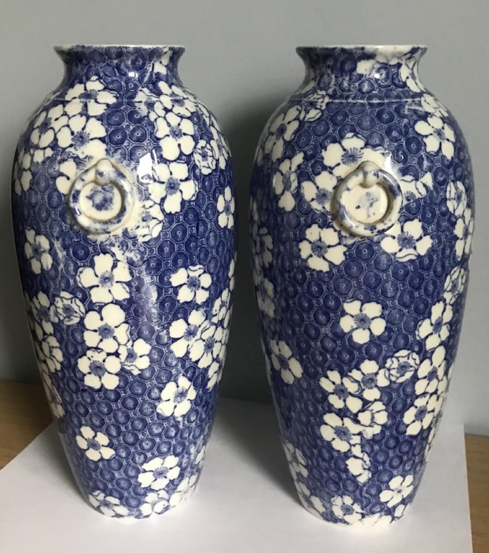 pair of blue white cauldon pottery vases