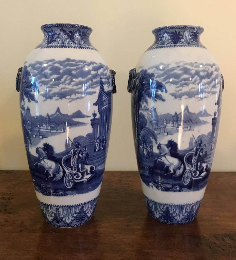 a pair of cauldon chariots vases