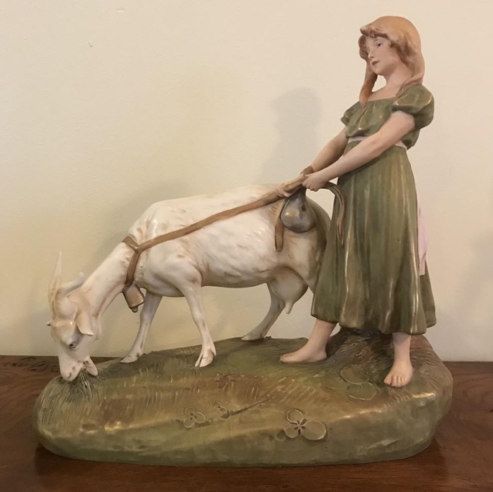 large royal dux figure girl grazing a goat