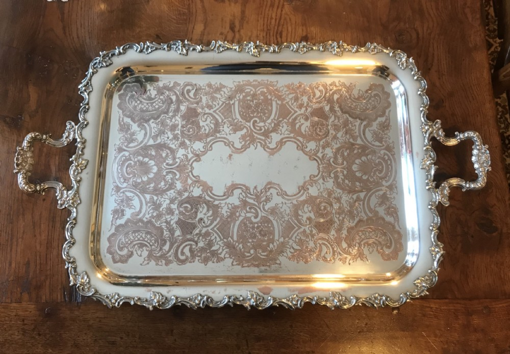 large late victorian rocco silver plate serving tray