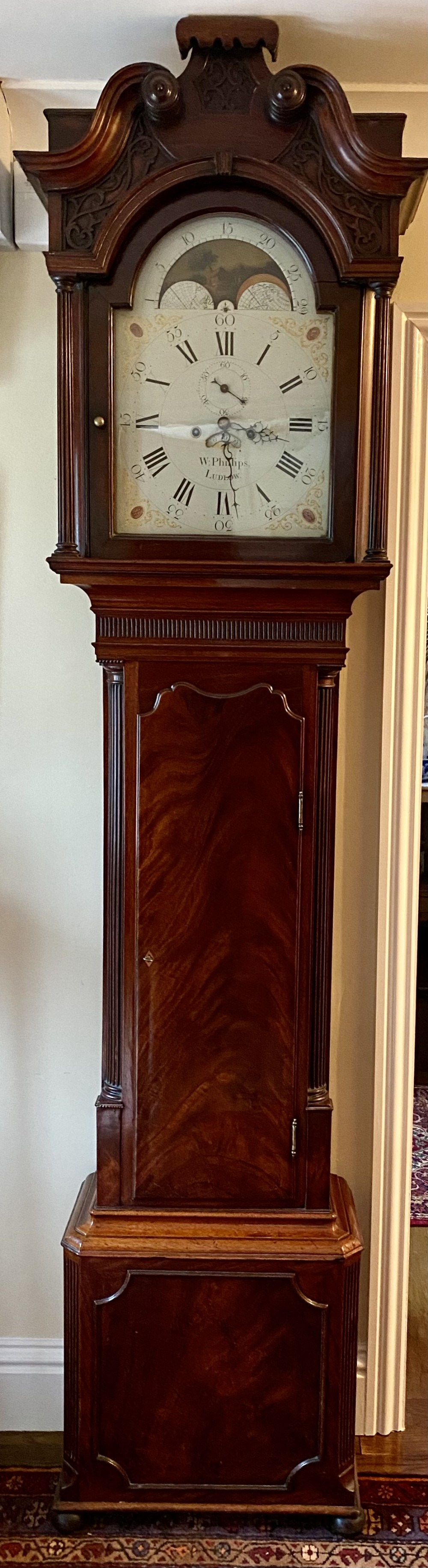 super quality 18th century 8 day mahogany longcase clock with rolling moon