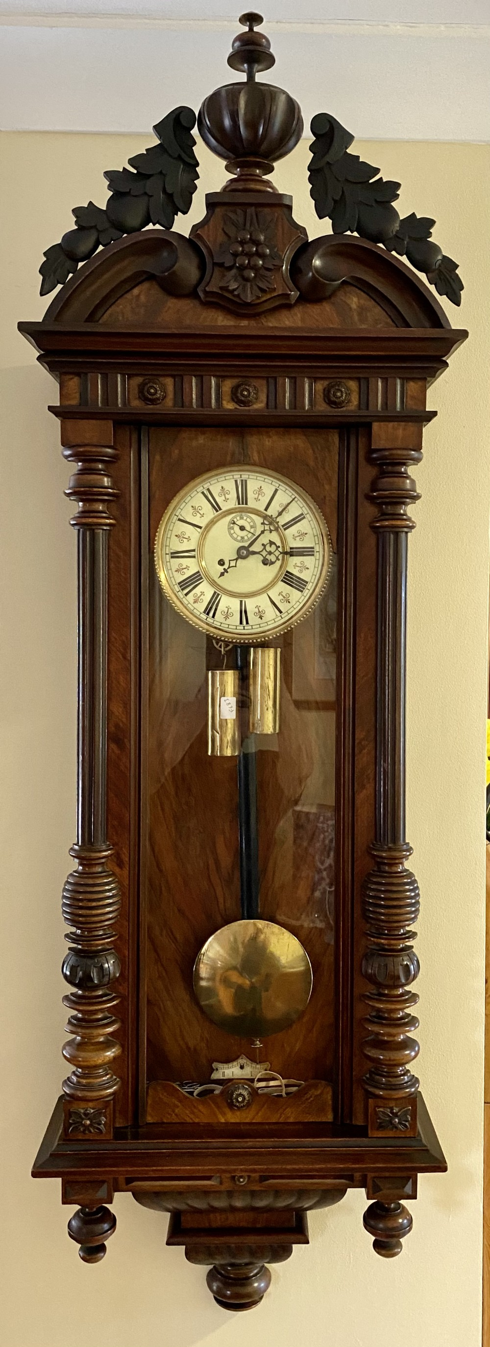 large 19th century walnut cased double weighted vienna wall clock