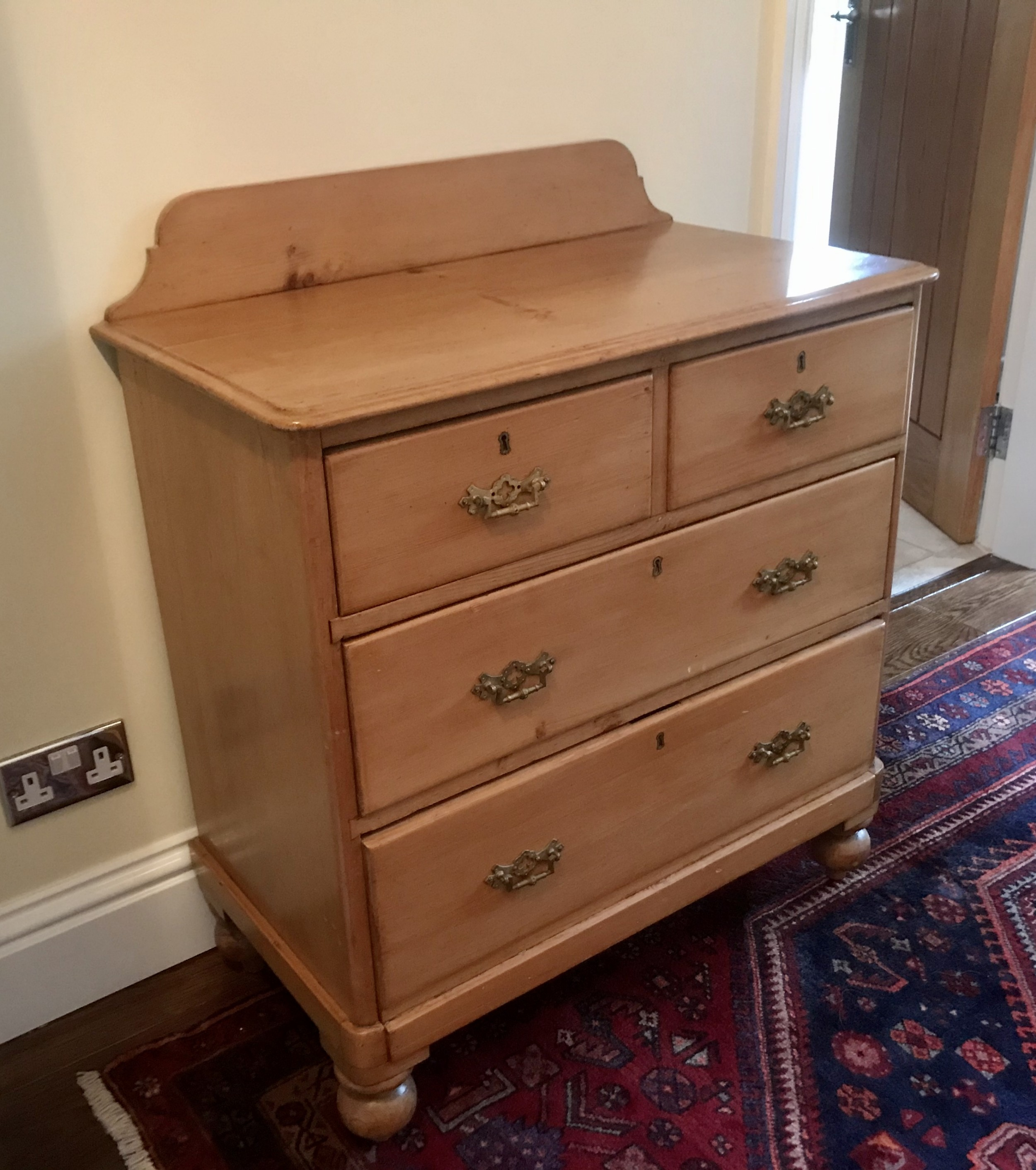 original 19th century stripped pine chest
