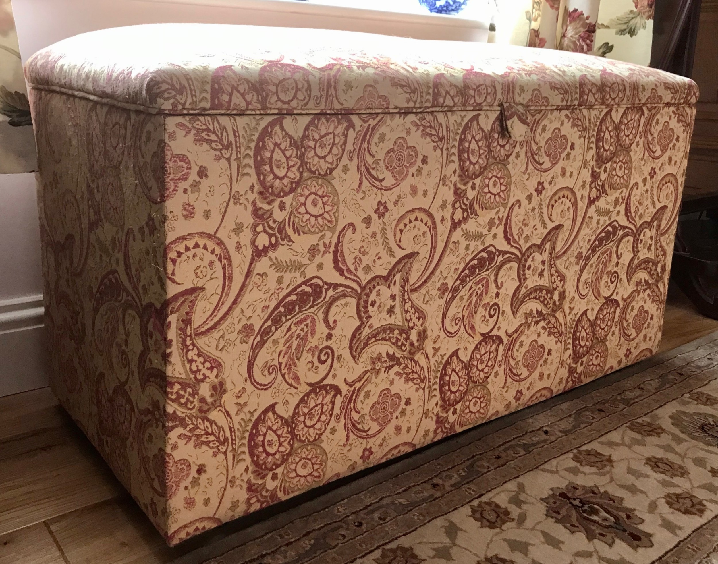 a large late 19th century upholstered ottoman