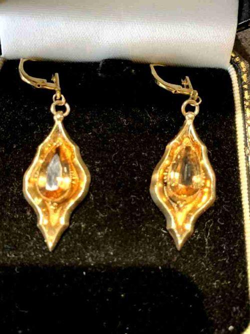 golden citrine victorian dropper earring