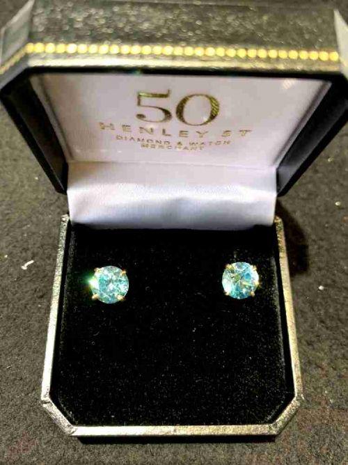 8mm blue zircon earrings