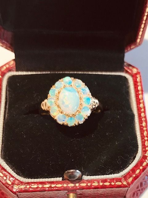 9ct opal cluster ring