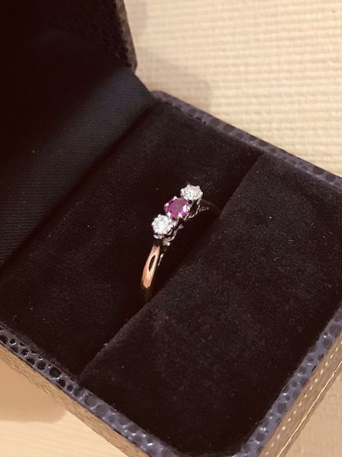 9ct claw set pink ruby diamond 3 stone ring