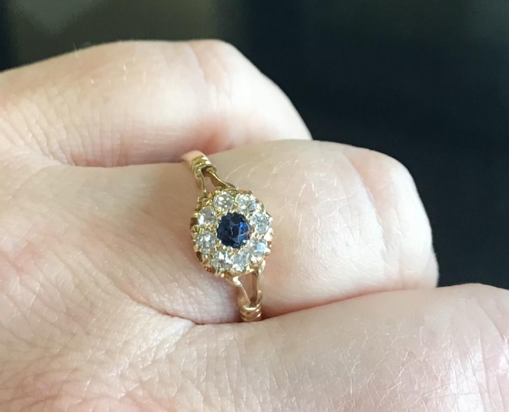 victorian old cut diamond sapphire cluster