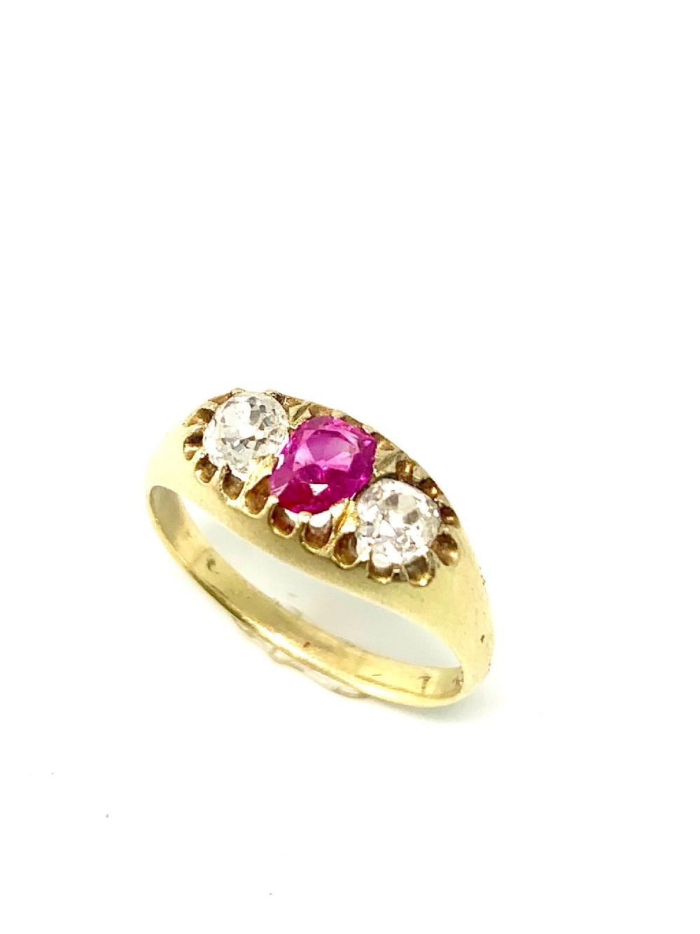 18ct victorian burmese ruby diamond ring