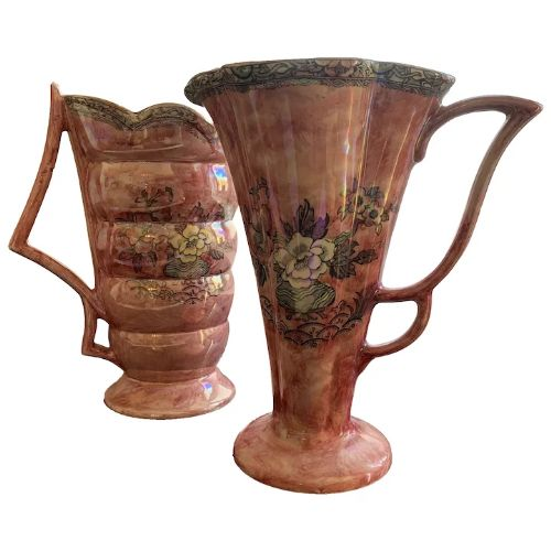 pair of arthur wood ceramic lustre art deco jugs