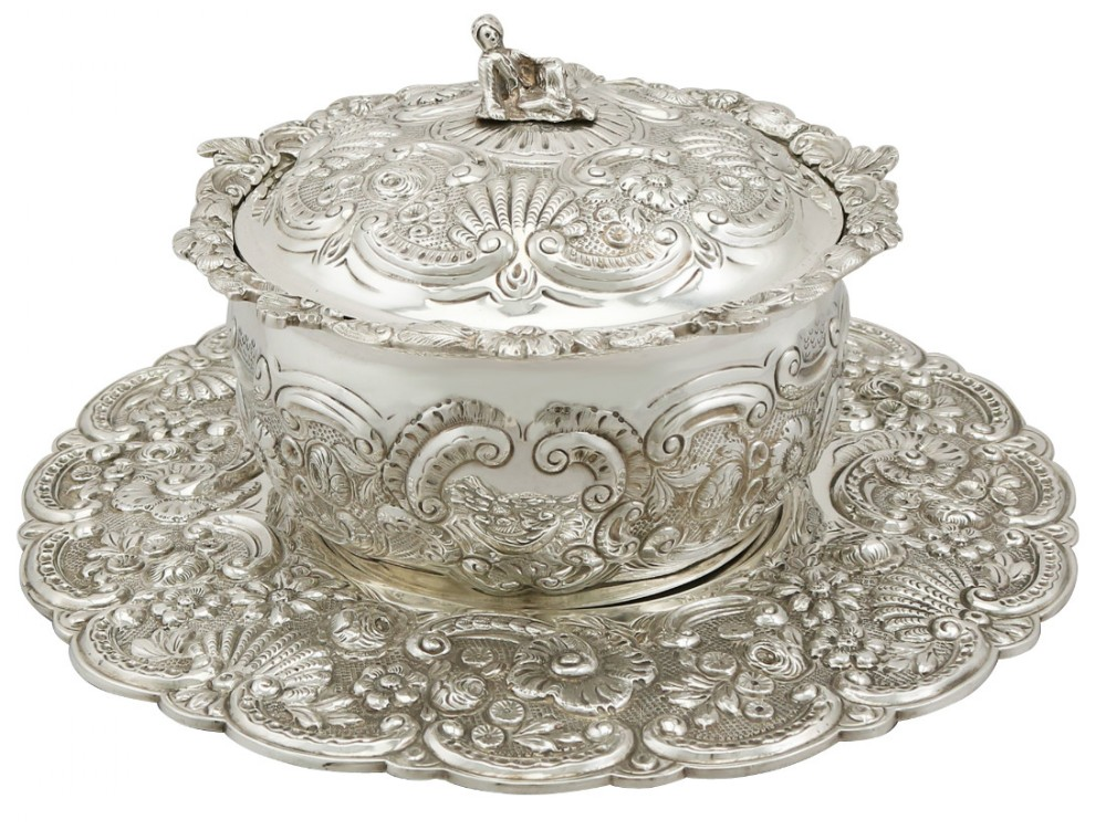 sterling silver covered serving dish antique george iii