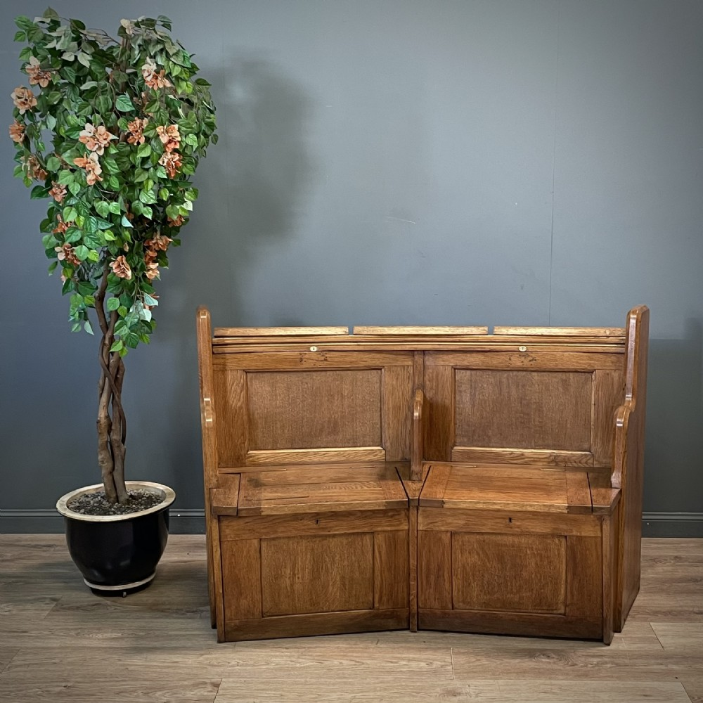 attractive antique victorian two seat solid oak church pew