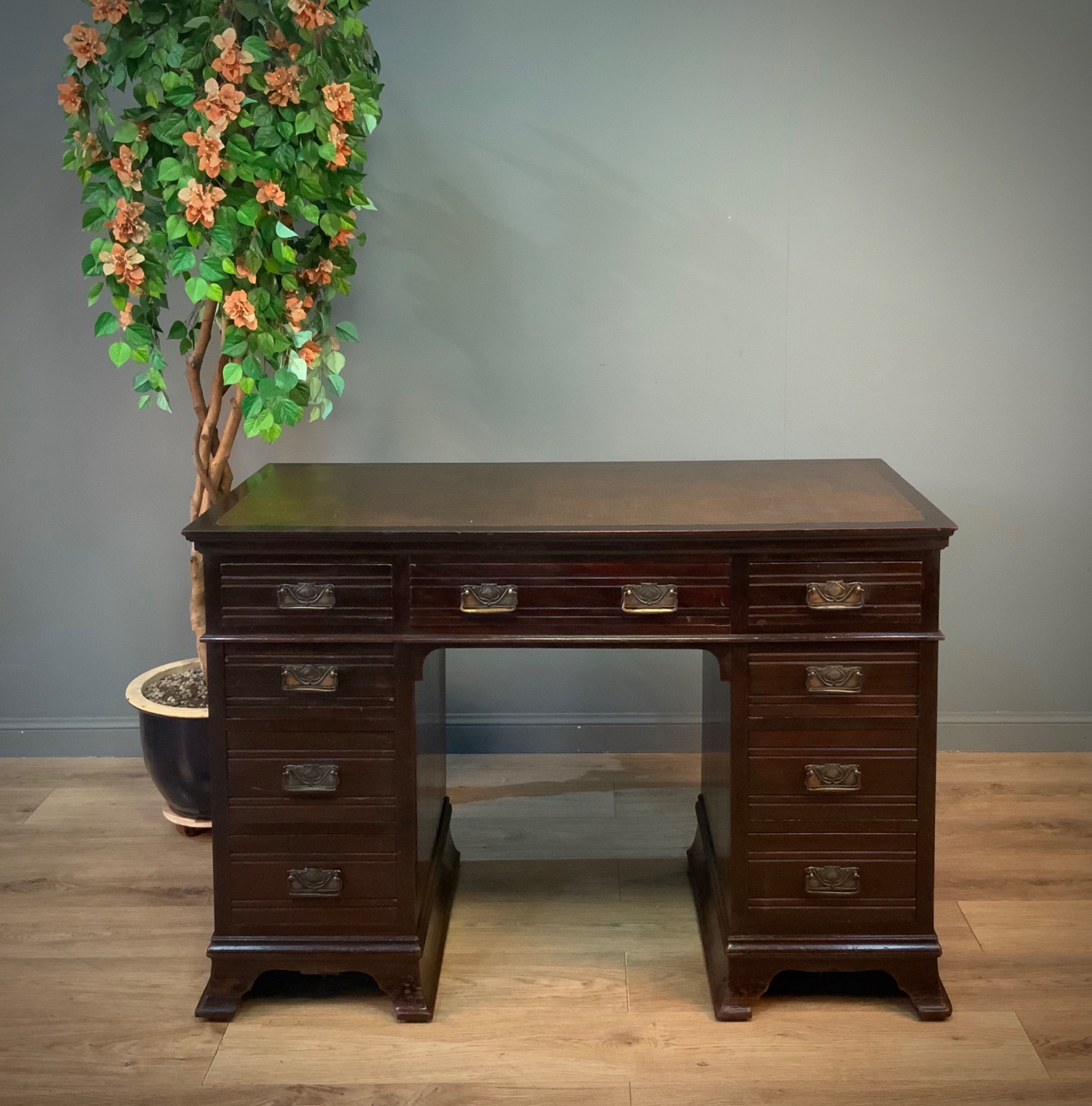 attractive large antique edwardian mahogany writing office desk