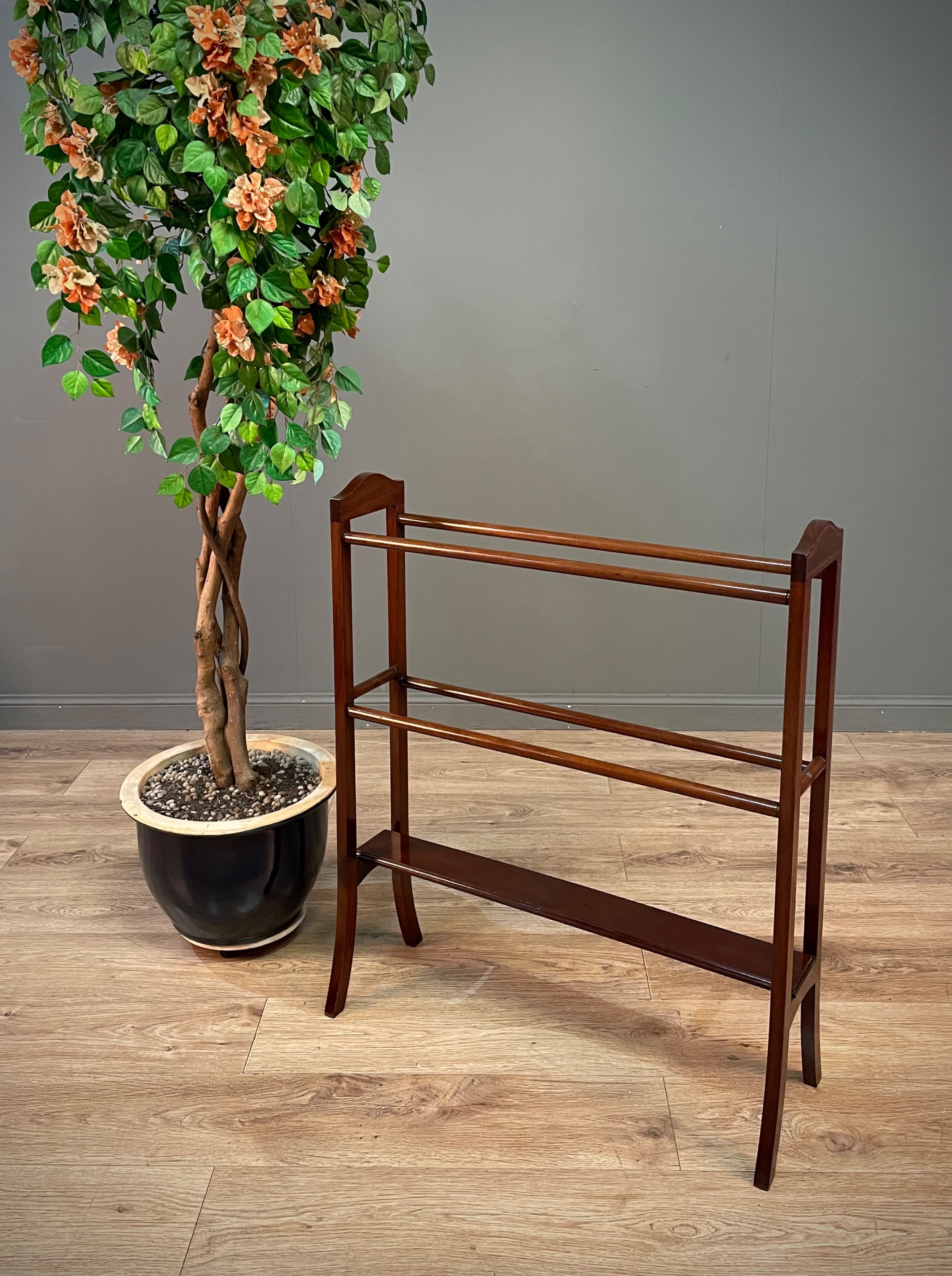 attractive antique edwardian inlaid mahogany towel rail