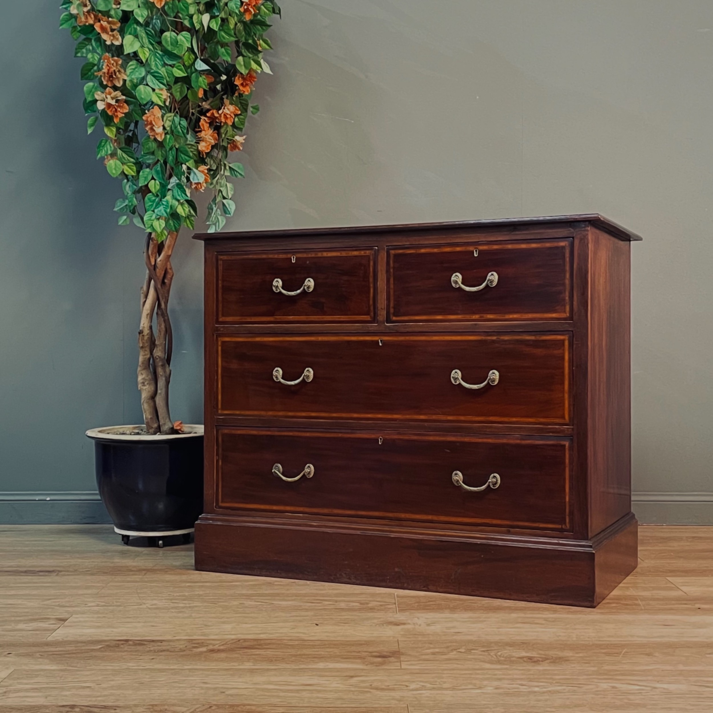 attractive antique inlaid mahogany lebus chest of four drawers