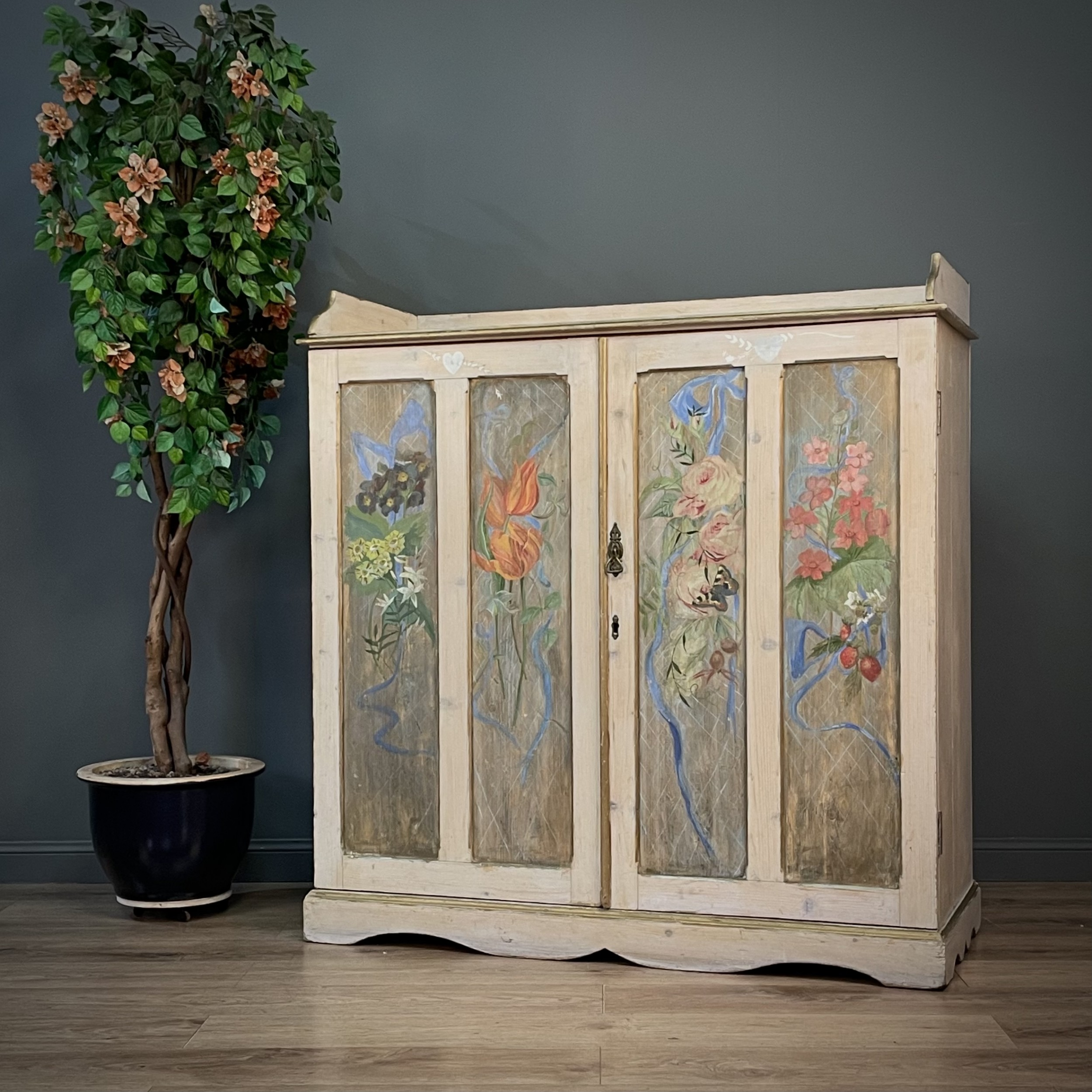 attractive large antique victorian hand painted dresser
