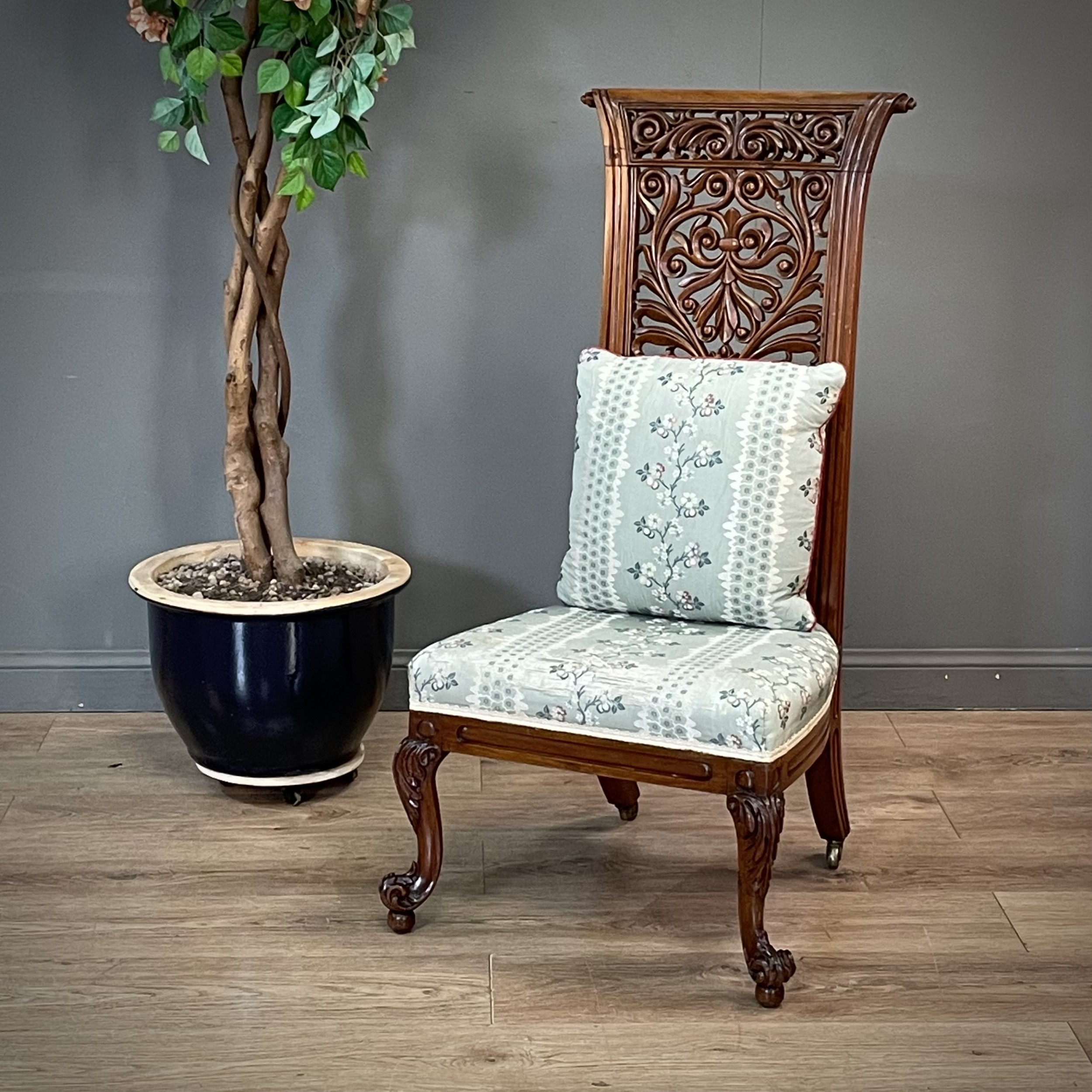 attractive antique ornately carved mahogany upholstered bedroom nursing chair