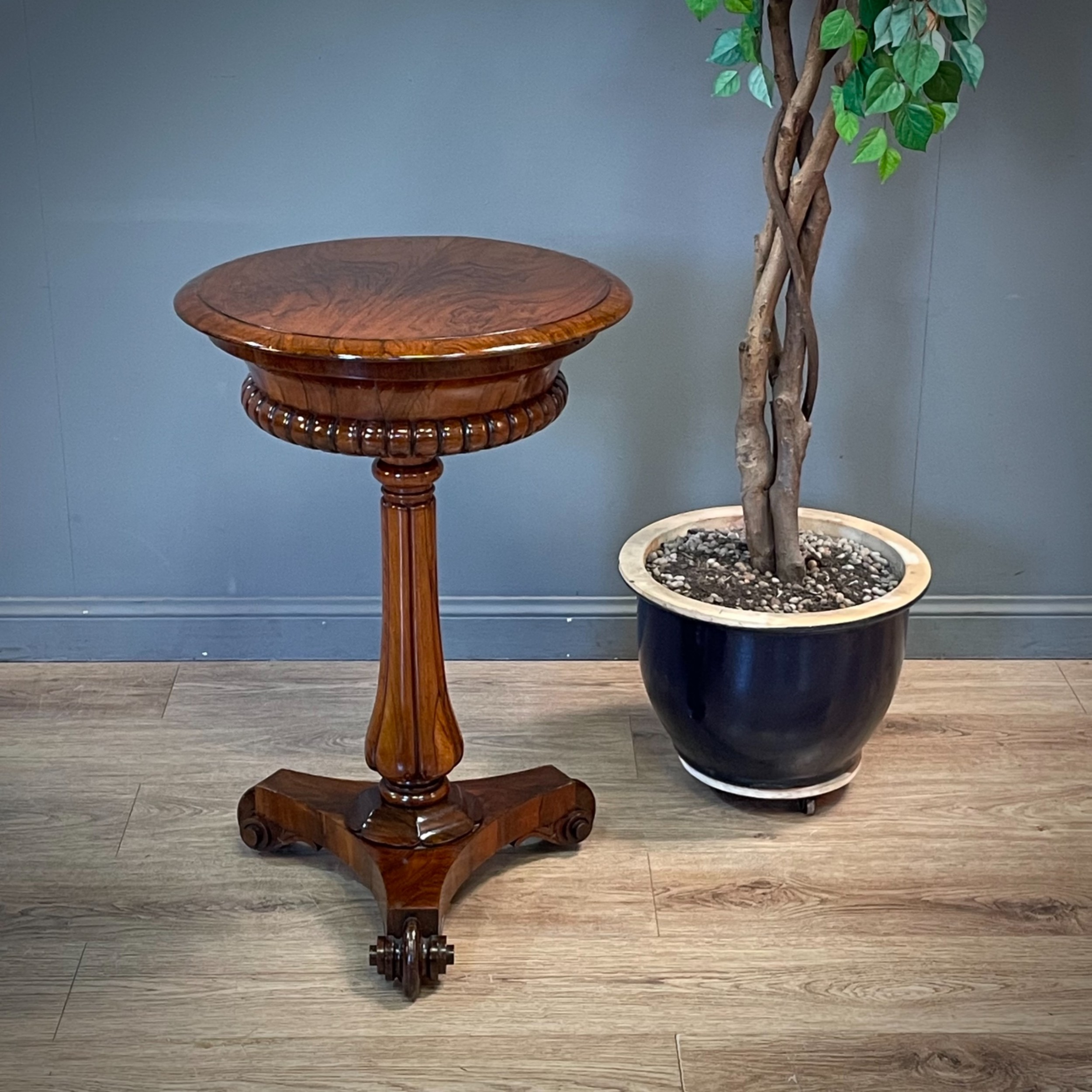 attractive antique regency rosewood teapoy lamp table