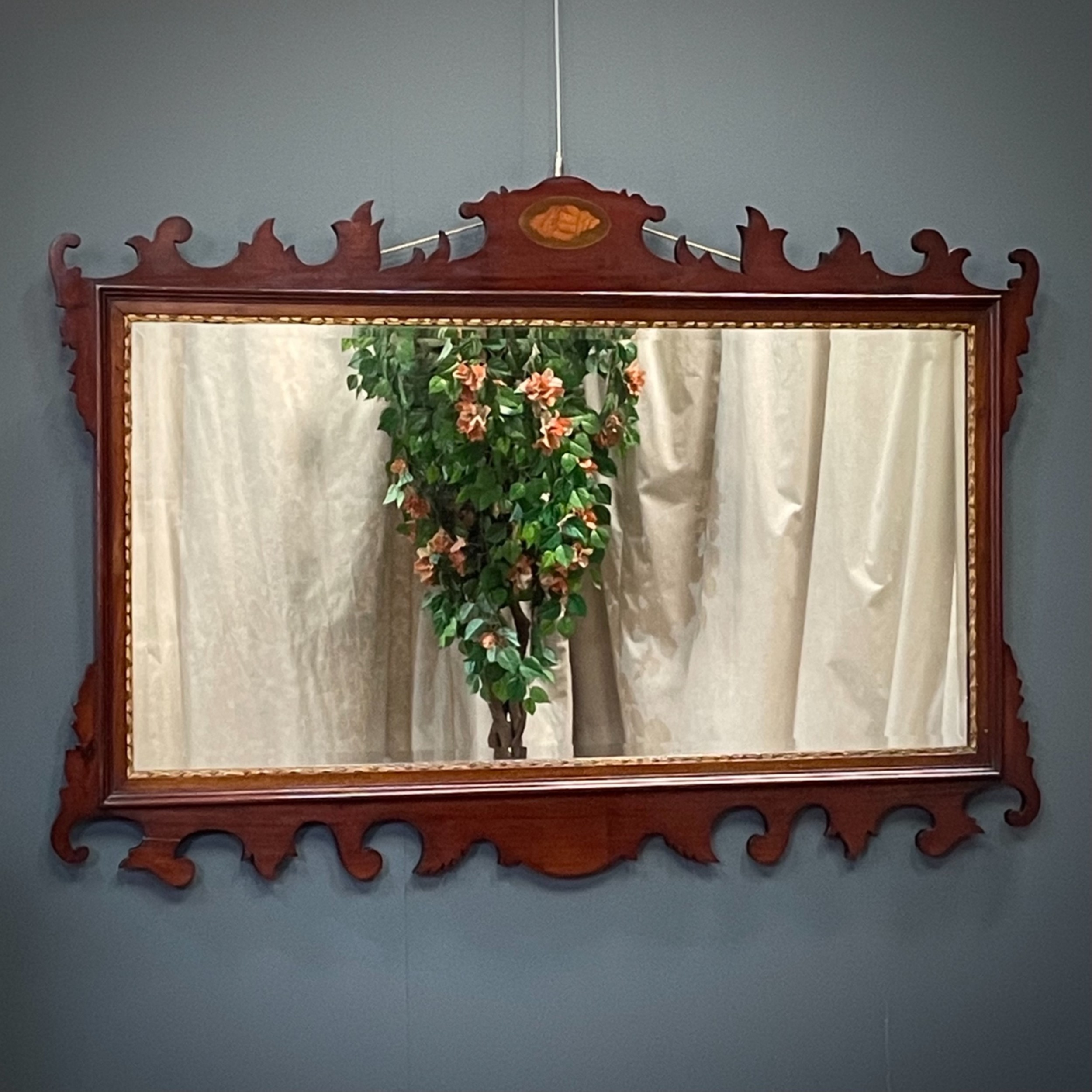 attractive large antique inlaid chippendale style mahogany wall mirror
