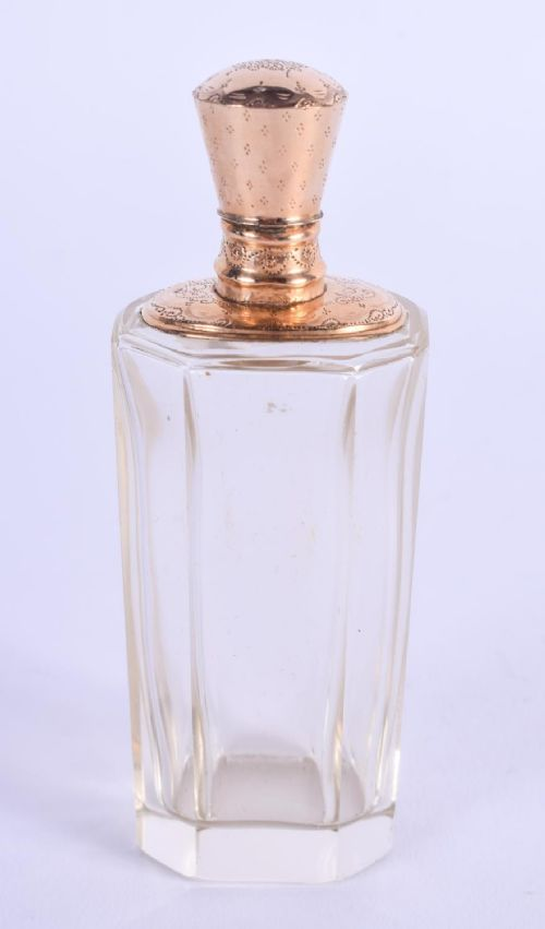 an antique 18ct gold mounted crystal glass scent bottle 9 cm
