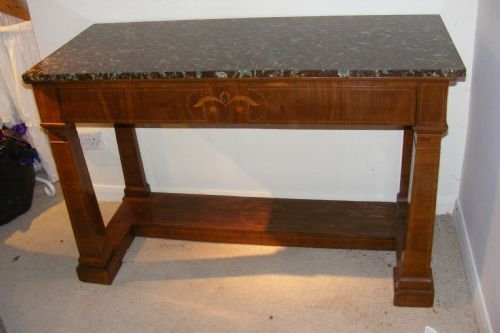 fabulous marble top serving table with decorative walnut inlay c1850