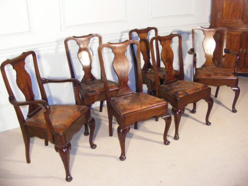 very good set of 10 mahogany queen anne style dining chairs