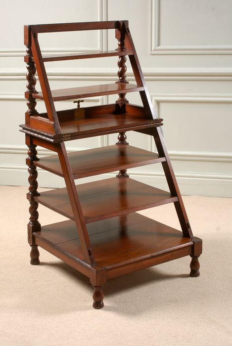 wonderful rare red walnut metamorphic library steps