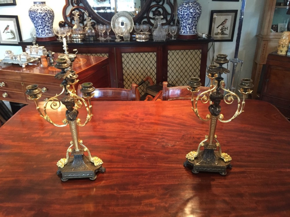 fine pair of ormolu and bronze empire candelabra