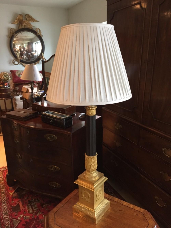 fine ormolu and gilt metal empire lamp