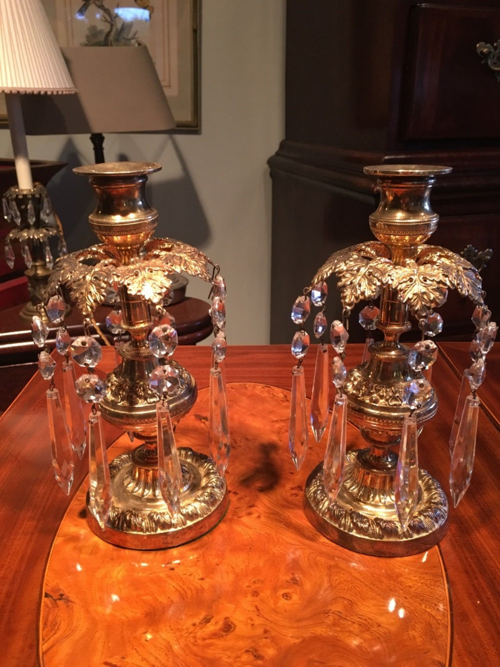 pair of decorative regency brass candle sconces
