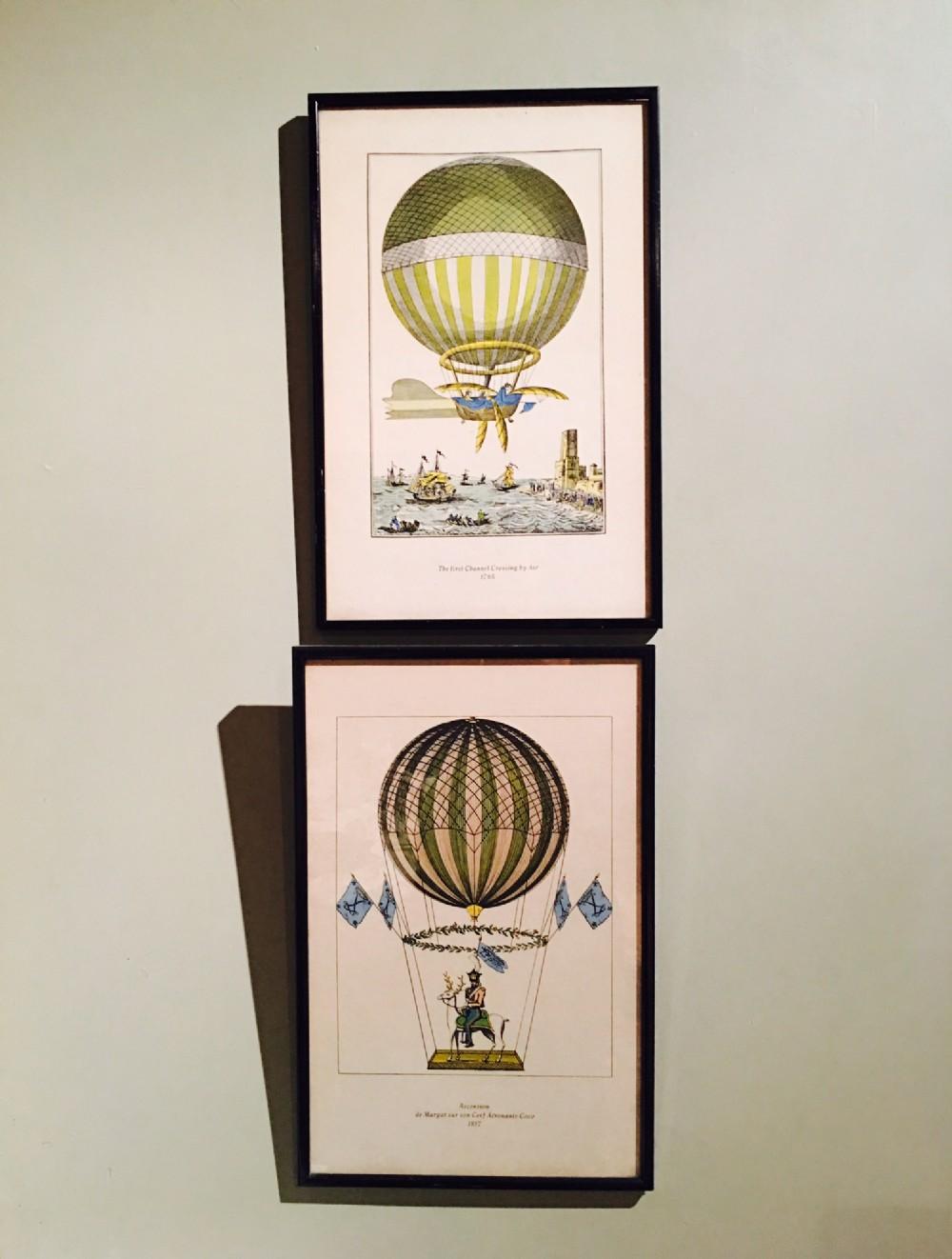 fantastic set of 4 decorative early hot air balloon prints