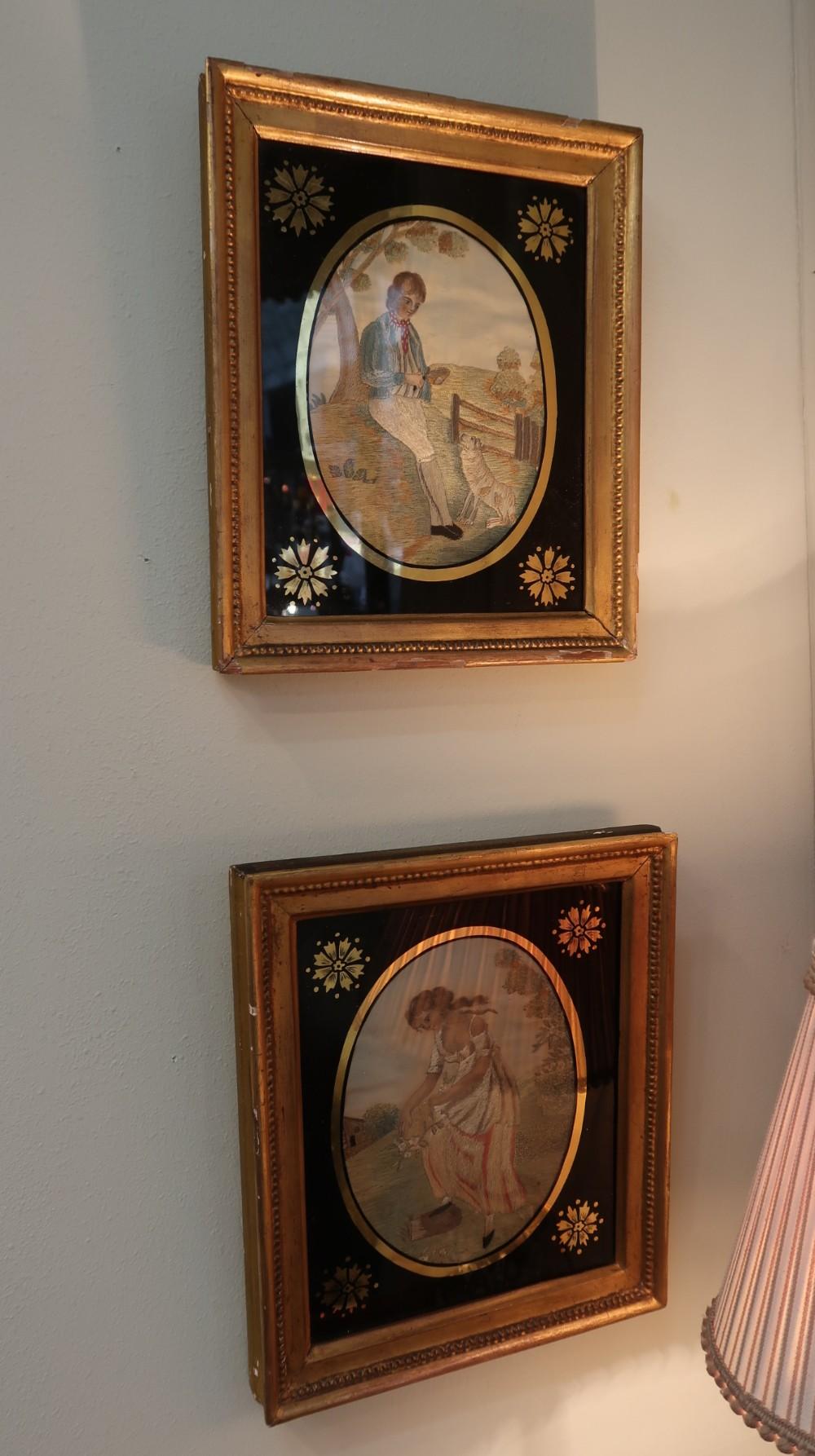 good pair of regency silk needlework embroideries with gilt mezzotint frames