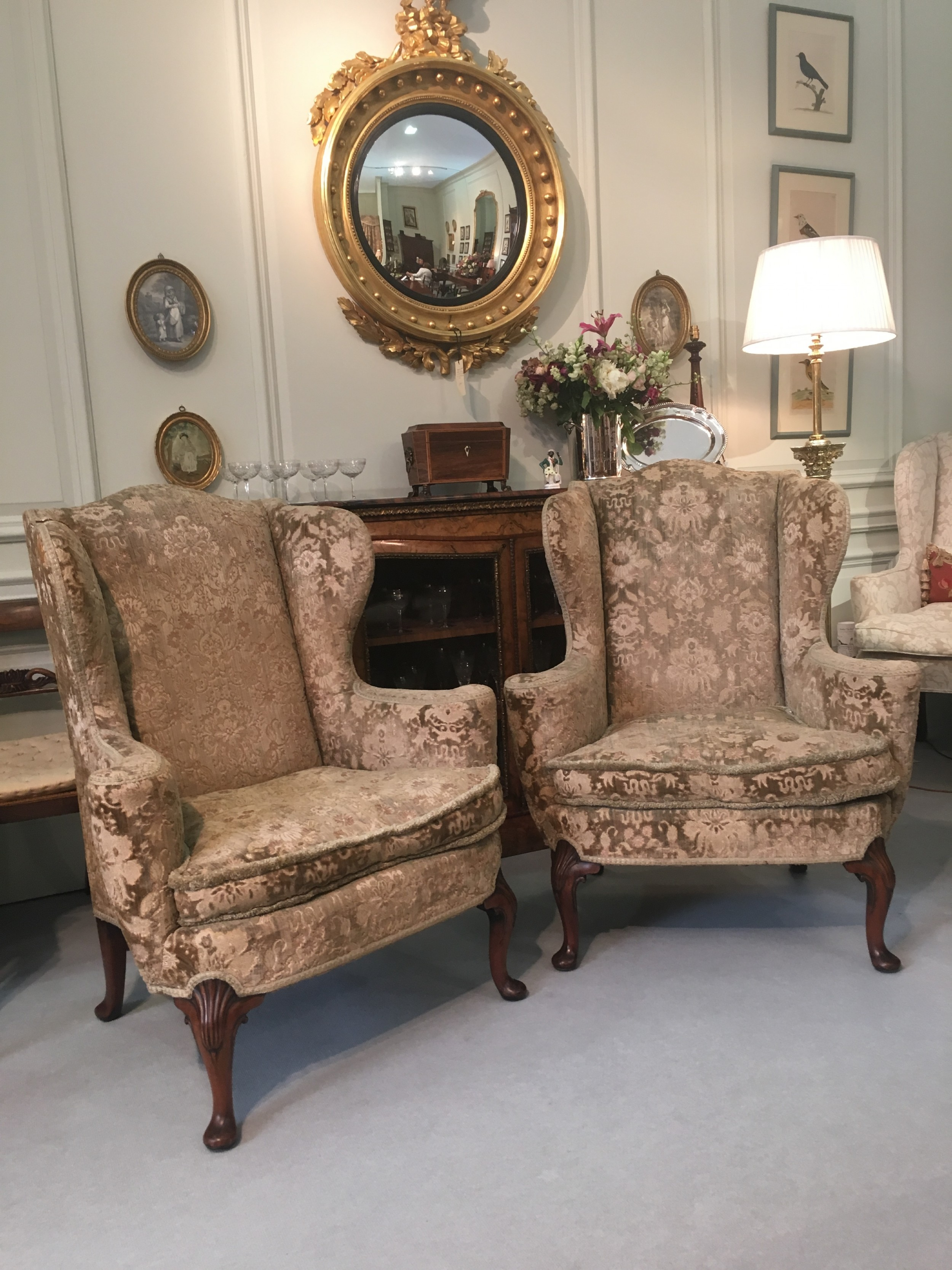 Super Superb Pair Of Walnut Queen Anne Style Wing Arm Chairs Squirreltailoven Fun Painted Chair Ideas Images Squirreltailovenorg