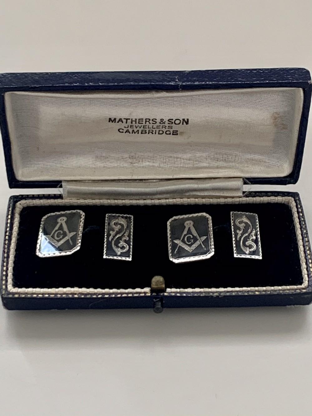 a pair of edwardian masonic silver niello cufflinks