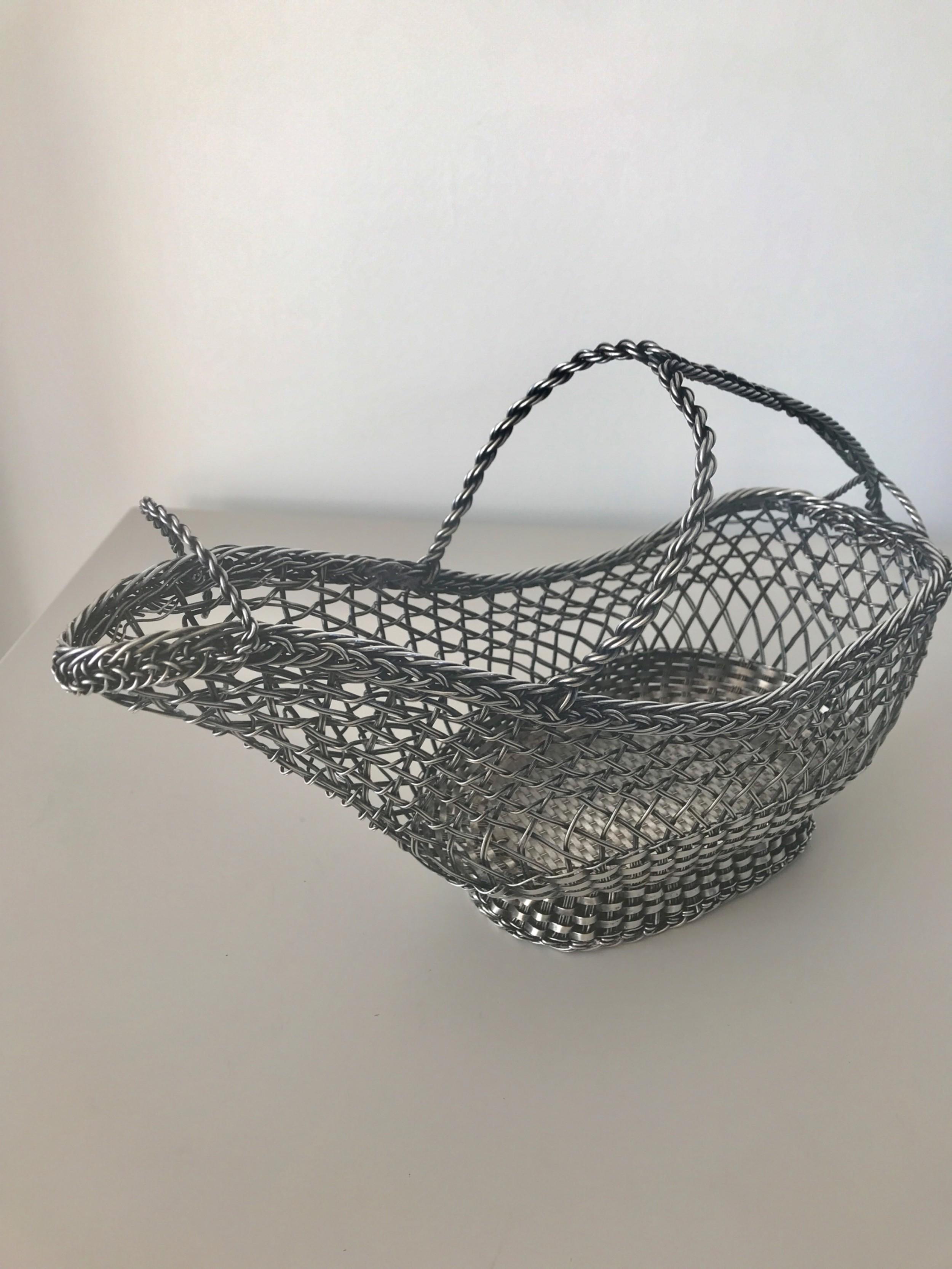 silver plated wine bottle basket